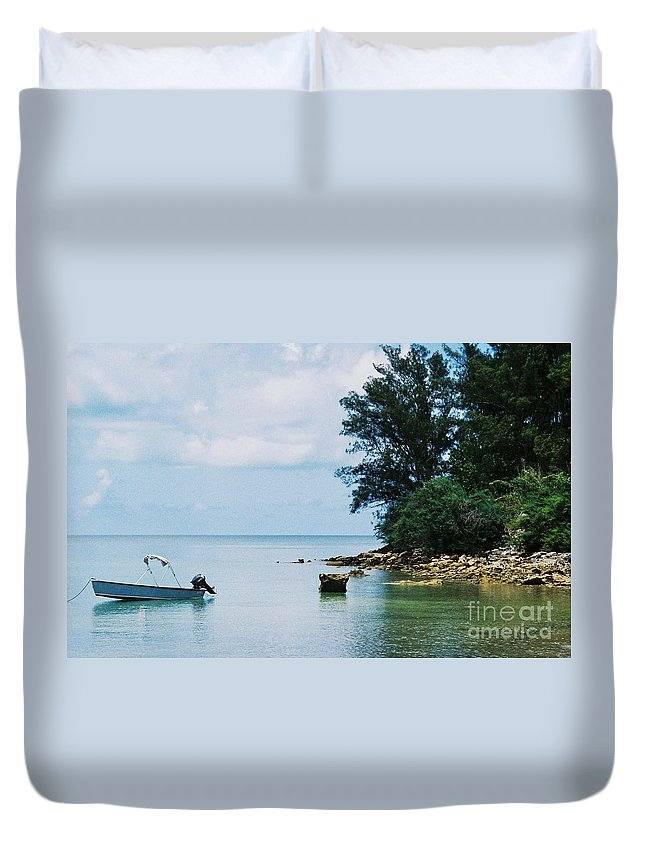 Art From Bermuda Serene Stock Shot Outdoors Nautical Scene Travel Trees Tranquil Water Reflections Calming Vision Meditation Film Stock Wood Print Metal Frame Canvas Print Poster Print Available On Tote Bags Mugs T Shirts Shower Curtains Pouches Weekender Tote Bags Phone Cases Throw Pillows Duvet Covers And Beach Towels Duvet Cover featuring the photograph Tranquility In Bermuda by Marcus Dagan