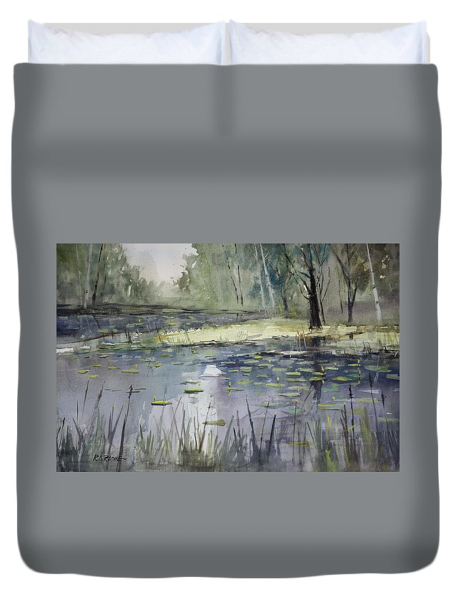 Landscape Duvet Cover featuring the painting Tranquillity by Ryan Radke