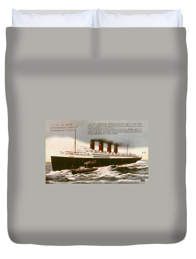 1912 Duvet Cover featuring the drawing Transatlantic Liner, 1912 by Granger