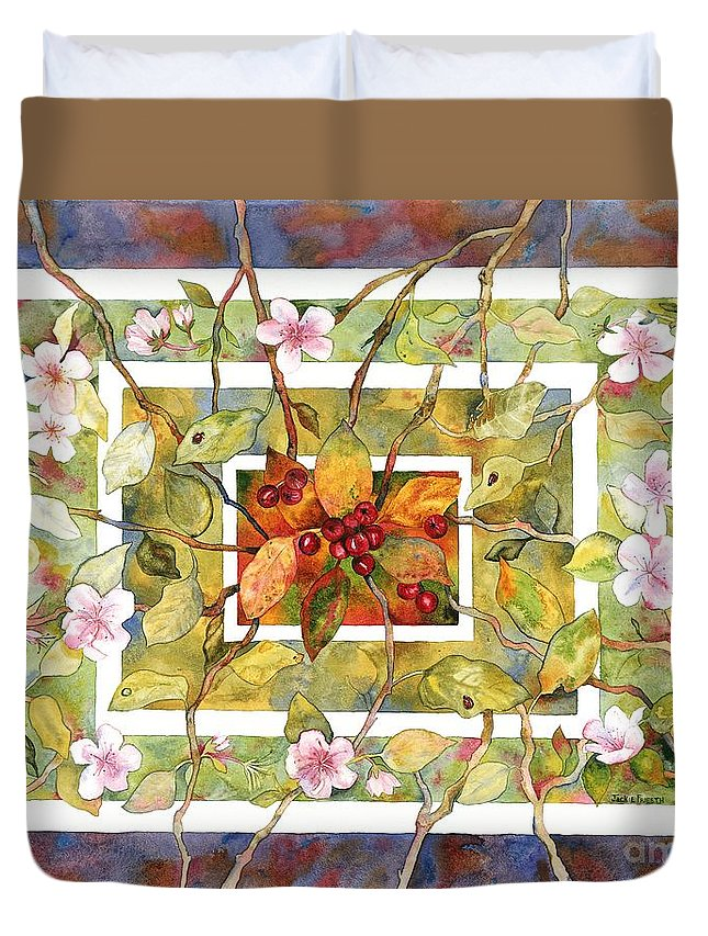 Landscape Duvet Cover featuring the painting Transitions by Jackie Friesth