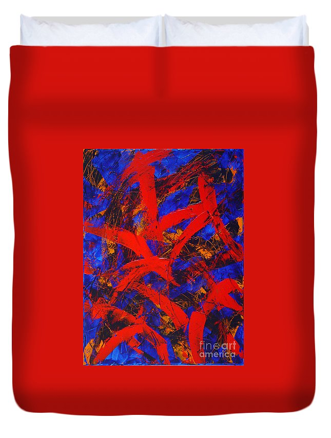 Abstract Duvet Cover featuring the painting Transitions With Blue And Red by Dean Triolo