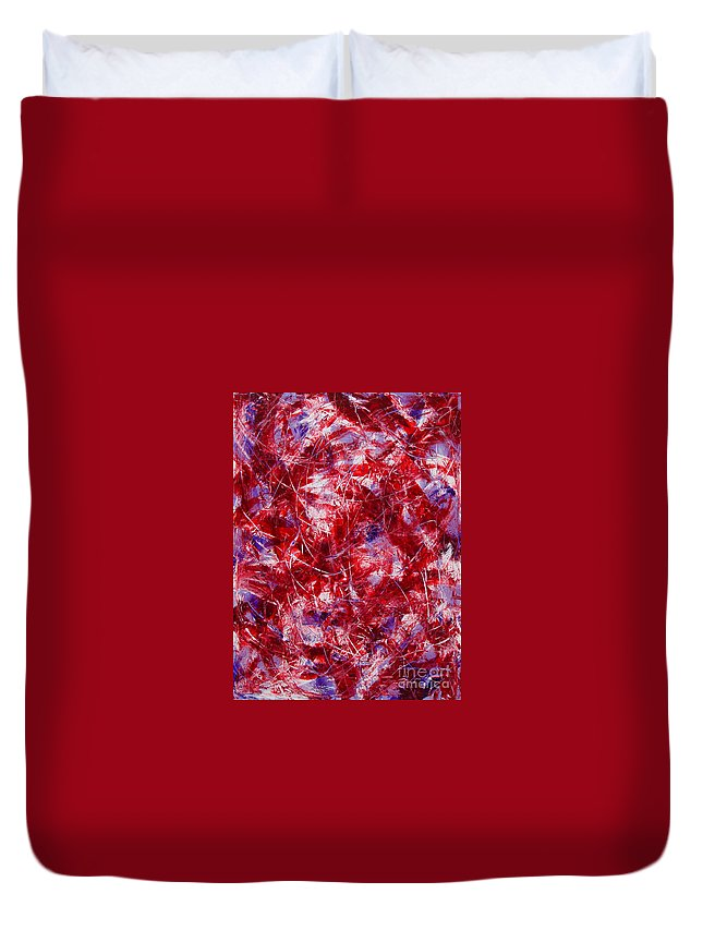 Abstract Duvet Cover featuring the painting Transitions With White Red And Violet by Dean Triolo