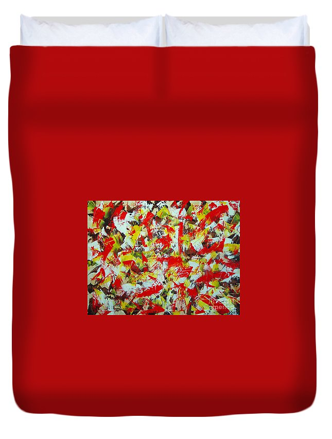 Abstract Duvet Cover featuring the painting Transitions With Yellow Brown And Red by Dean Triolo