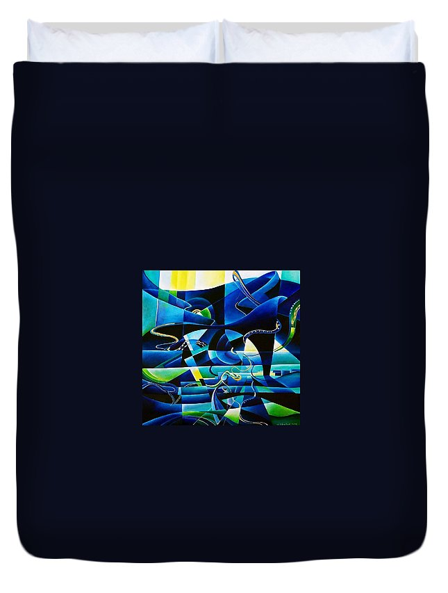 Lago Maggiore Lago Di Como Claudio Monteverdi Mass For Four Voices Kyrie Eleison Duvet Cover featuring the painting Transitions by Wolfgang Schweizer