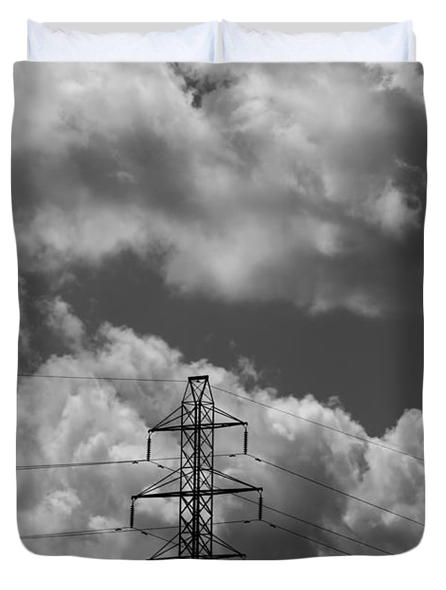 Transmission Tower In Storm Duvet Cover featuring the photograph Transmission Tower In Storm by Dan Sproul