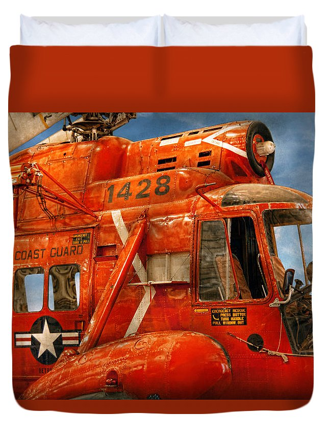 Savad Duvet Cover featuring the photograph Transportation - Helicopter - Coast Guard Helicopter by Mike Savad