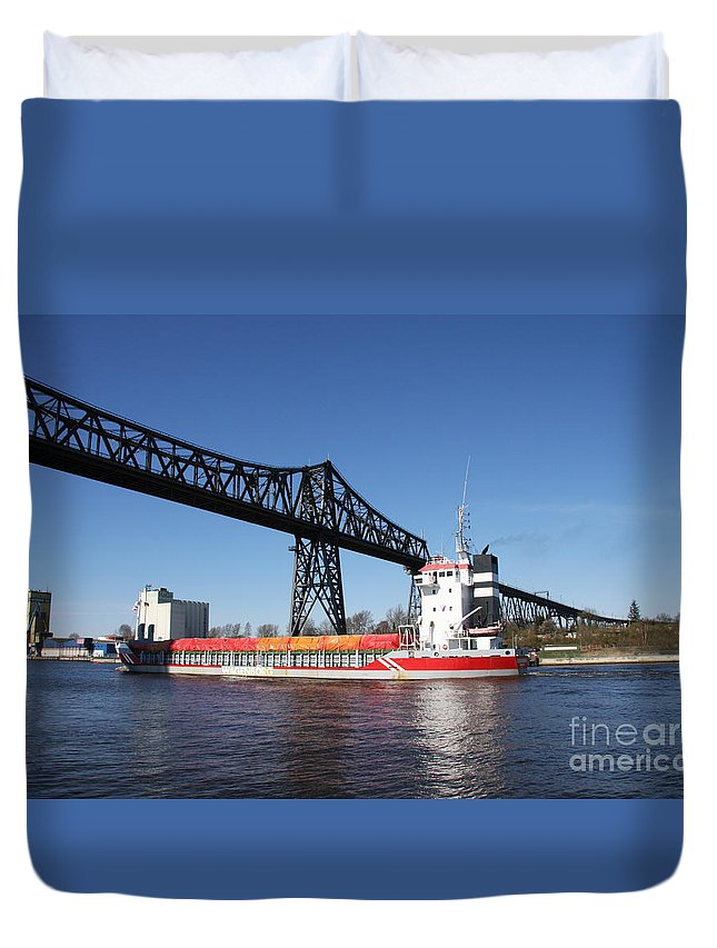 Bridge Duvet Cover featuring the photograph Transporter Bridge Over Canal Rendsburg by Christiane Schulze Art And Photography