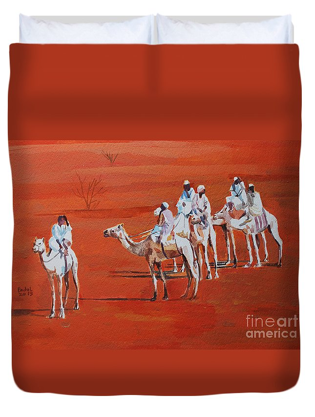 Travel By Camels Duvet Cover featuring the painting Travel By Camels by Mohamed Fadul