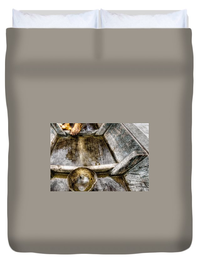 Boat Gourd Gourds Feet Wood Primitive Water Travel Traveling Adventure  Duvet Cover featuring the photograph Travel by Roch Hart