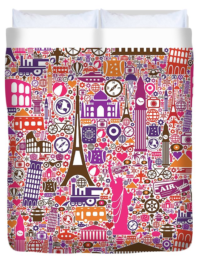 Chinese Culture Duvet Cover featuring the digital art Travel Seamless Pattern by Liana Monica Bordei