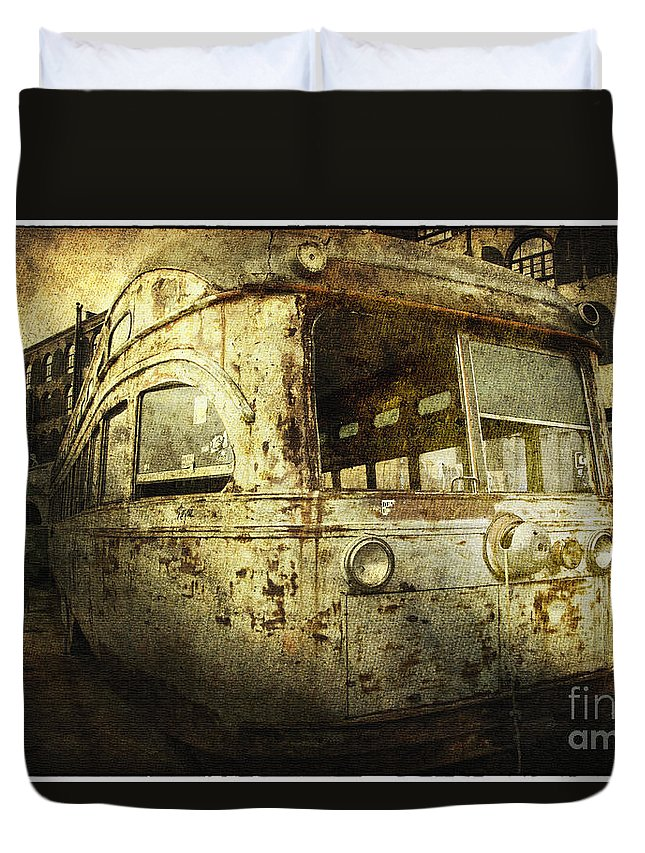 Bus Duvet Cover featuring the photograph Traveling Through Time by Madeline Ellis