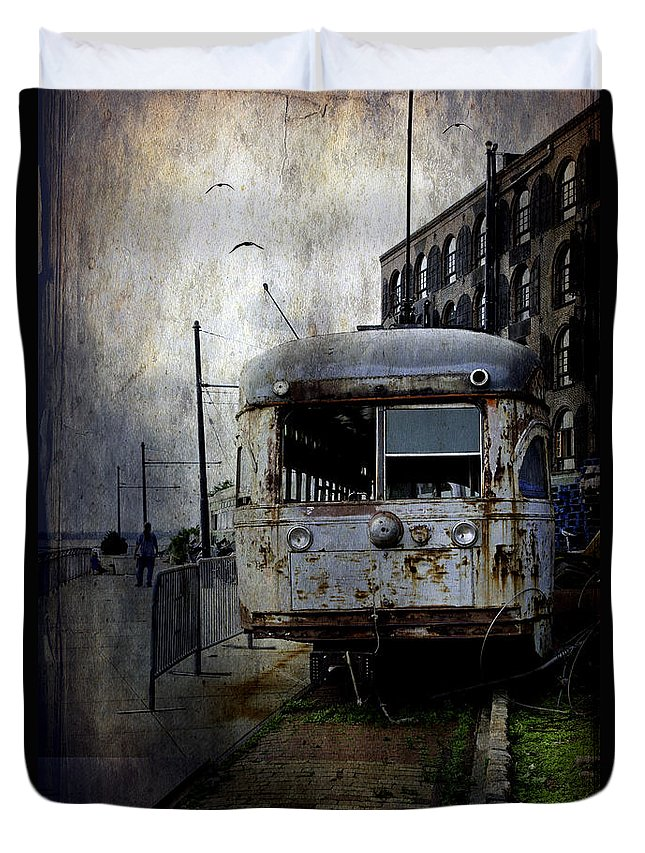 Bus Duvet Cover featuring the photograph Travelling Through Time 2 by Madeline Ellis