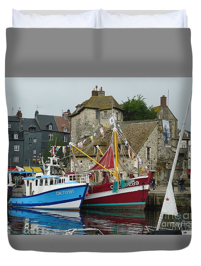 French Duvet Cover featuring the photograph Trawlers In Honfleur by Barbie Corbett-Newmin