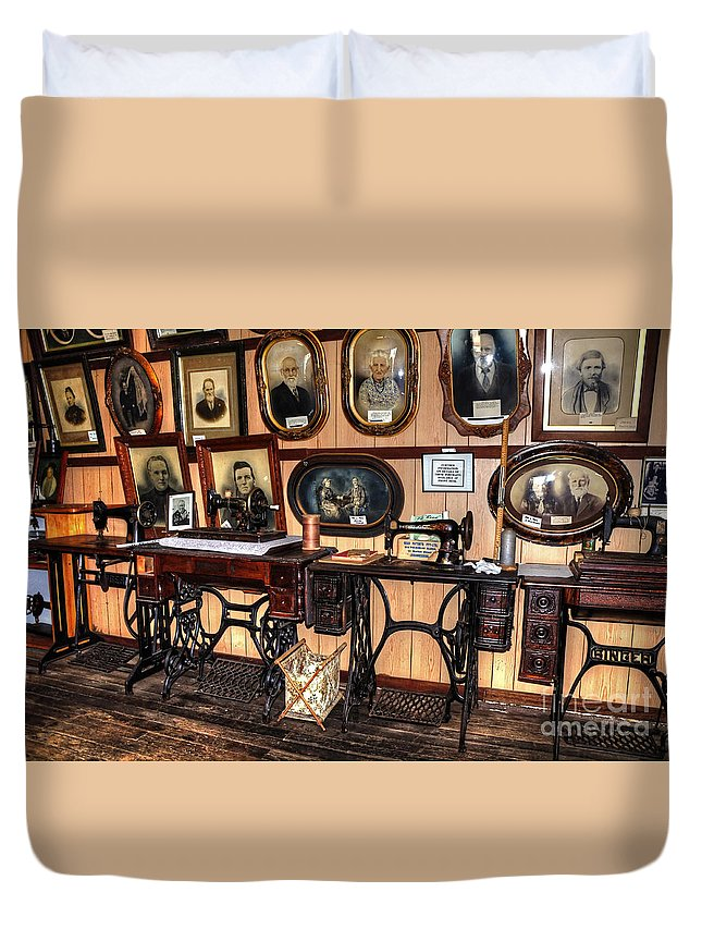 Photography Duvet Cover featuring the photograph Treadle Sewing Machines by Kaye Menner