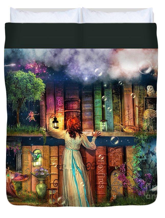 Fairytale Duvet Cover featuring the digital art Fairytale Treasure Hunt Book Shelf Variant 2 by MGL Meiklejohn Graphics Licensing