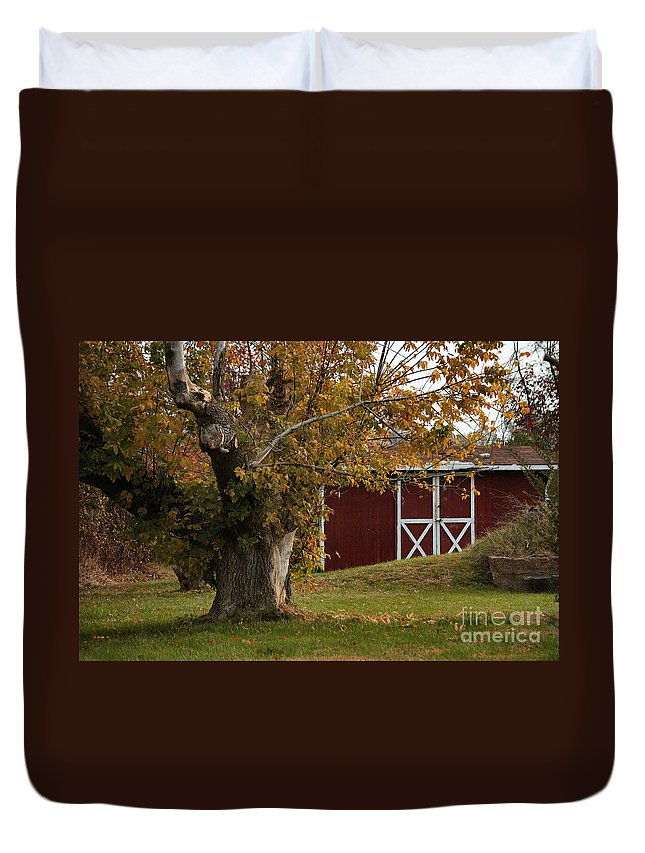 Autumn Duvet Cover featuring the photograph Tree And Red Barn by Luv Photography