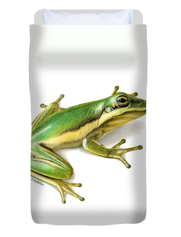 Frog Duvet Cover featuring the painting Green Tree Frog by Sarah Batalka
