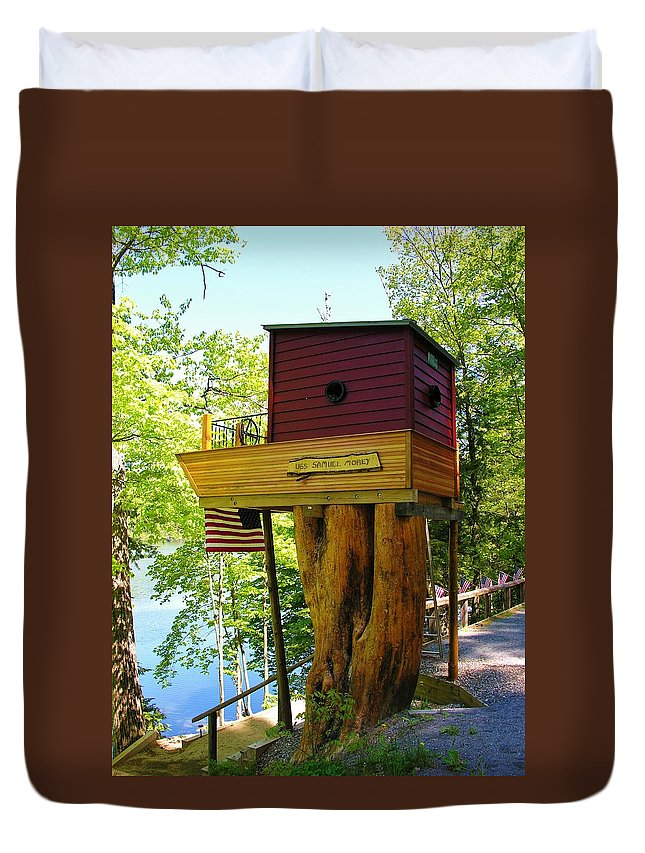 Tree House Duvet Cover featuring the photograph Tree House Boat by Sherman Perry