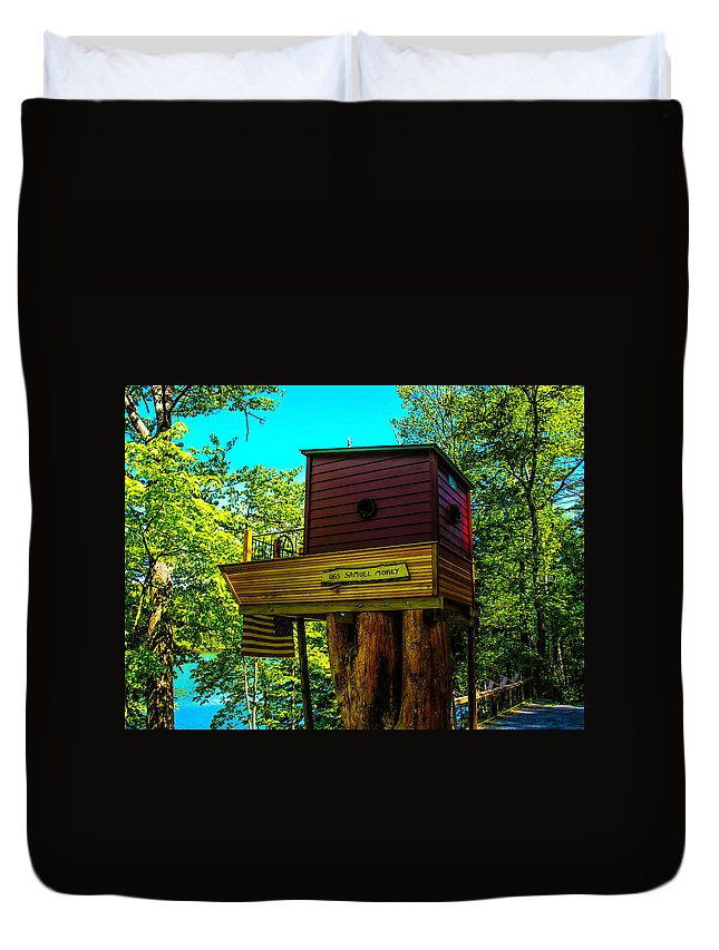 House Duvet Cover featuring the photograph Tree House by Sherman Perry