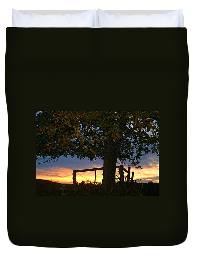 Tree Duvet Cover featuring the photograph Tree In The Sunset by Kathryn Meyer