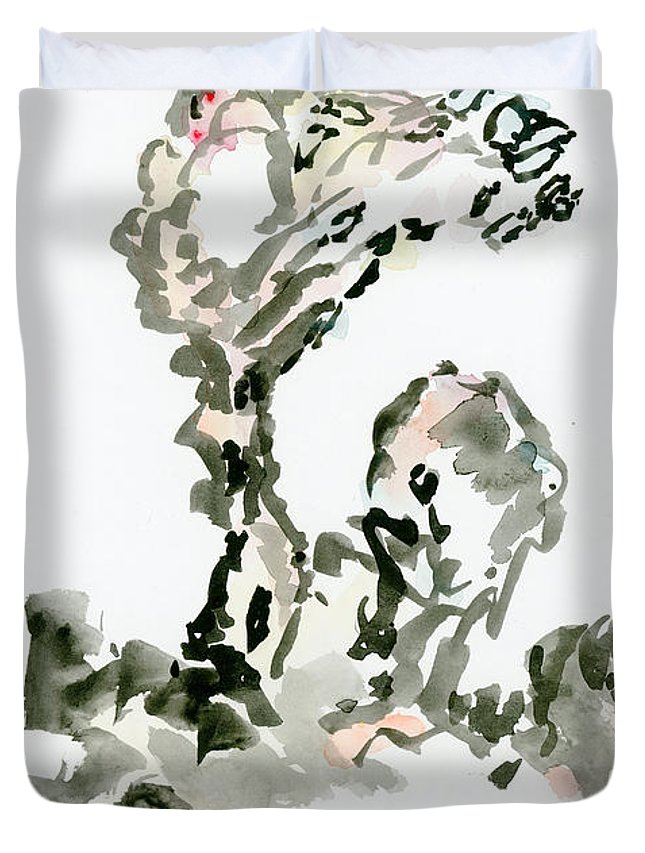Tree Duvet Cover featuring the painting Tree In The Wind by Sevastianos Maillis