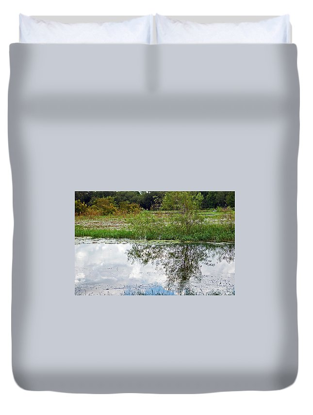 Tree Duvet Cover featuring the photograph Tree Reflecting In Pond by Aimee L Maher ALM GALLERY