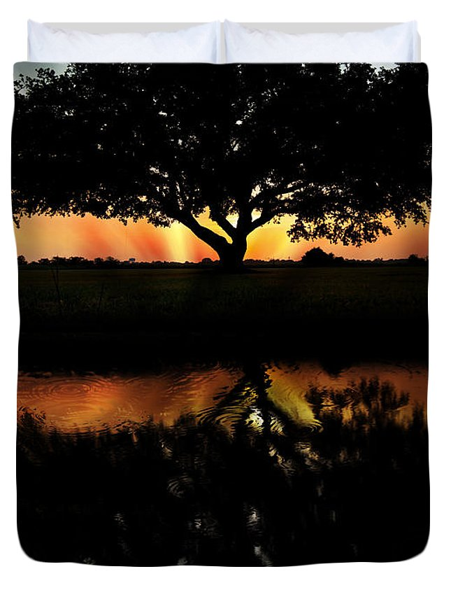 Tree Duvet Cover featuring the photograph Tree Reflection by Regina Williams