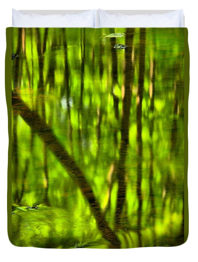 Tree Reflections Duvet Cover featuring the photograph Tree Reflections by Adam Jewell