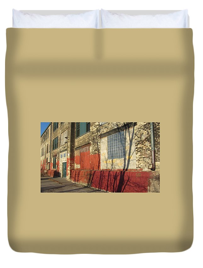 Urban Duvet Cover featuring the photograph Tree Shadow On Brick 2 by Anita Burgermeister