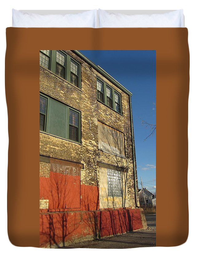 Urban Duvet Cover featuring the photograph Tree Shadow On Brick 4 by Anita Burgermeister
