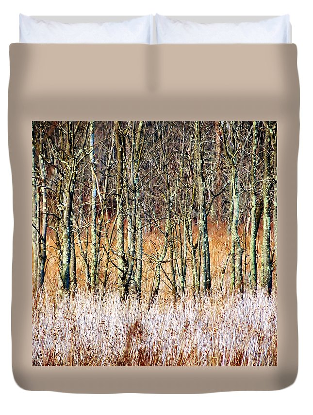 Nature Duvet Cover featuring the photograph Treelines by Art Dingo