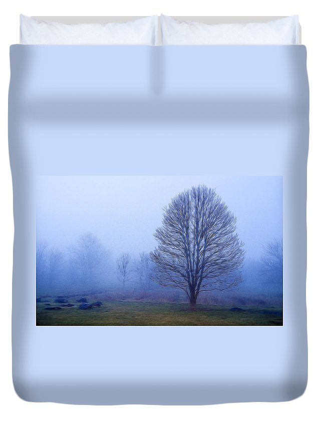 Tree Duvet Cover featuring the photograph Trees In Fog #2 by Sharon M Connolly