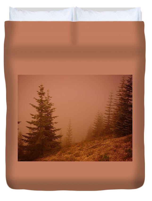Trees Duvet Cover featuring the photograph Trees In The Fog by Jeff Swan