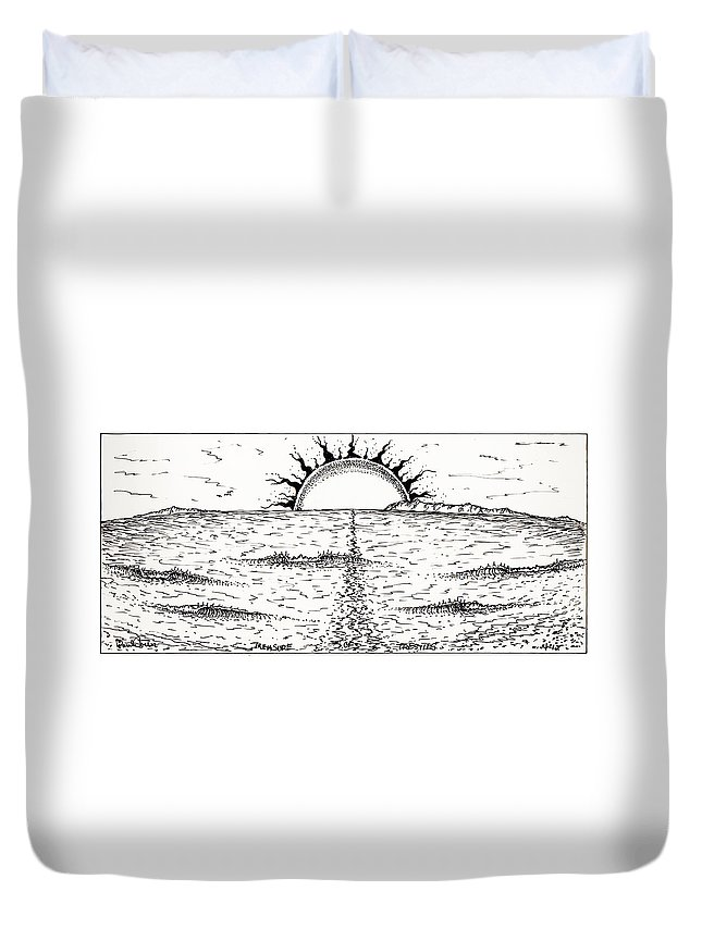Trestlesdrawing Duvet Cover featuring the photograph Trestles by Paul Carter