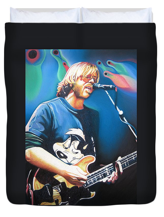 Phish Duvet Cover featuring the drawing Trey Anastasio And Lights by Joshua Morton