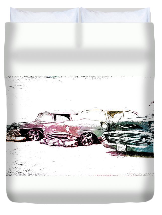Colors Duvet Cover featuring the photograph Tri Five Chevys by Steve McKinzie