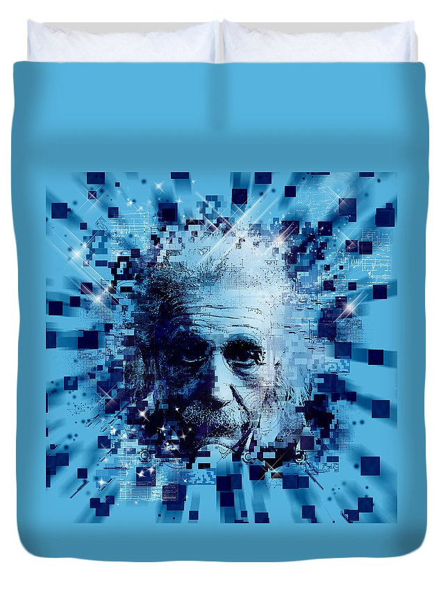 Albert Einstein Duvet Cover featuring the painting Tribute To Genius 2 by Bekim M
