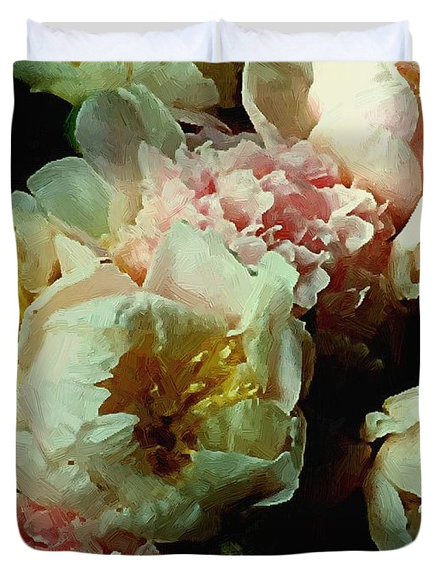 Peonies Duvet Cover featuring the painting Tribute to the Old Masters by RC DeWinter