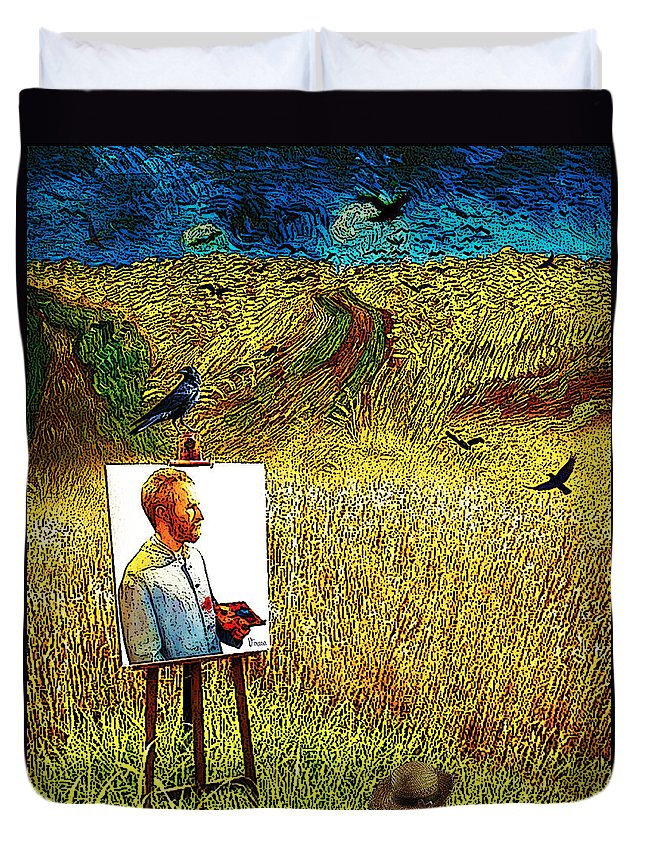 Tribute Duvet Cover featuring the drawing Tribute To Vincent Van Gogh - His Final Days by Jose A Gonzalez Jr
