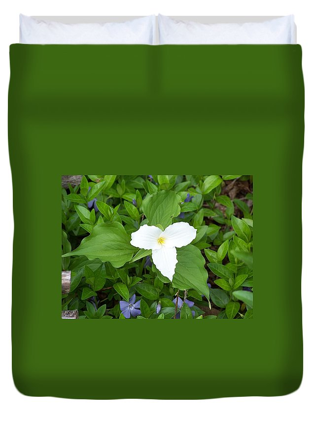 Trillium Duvet Cover featuring the photograph Trillium - White Beauty by Holly Eads