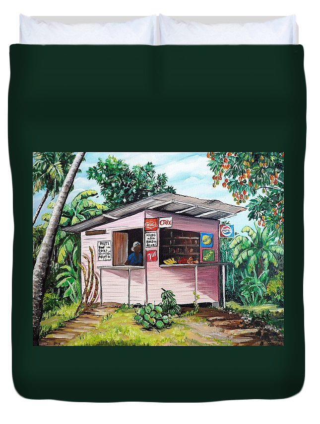 Shop Painting Duvet Cover featuring the painting Trini Roti Shop by Karin Dawn Kelshall- Best