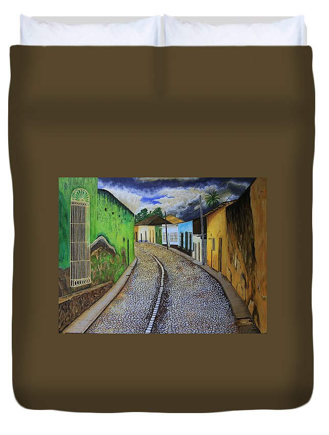 Trinidad Duvet Cover featuring the painting Trinidad Cuba Original Oil Painting 16x12in by Manuel Lopez