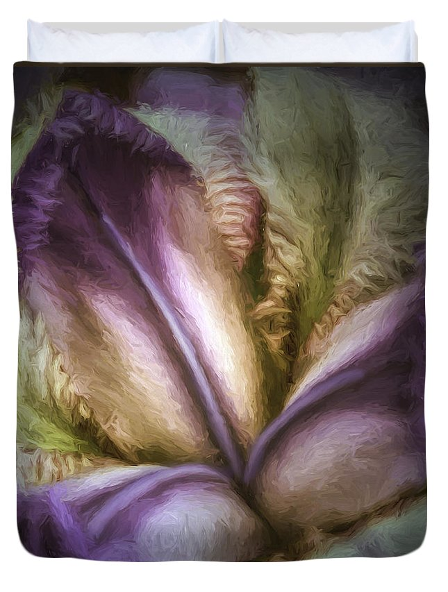 Iris Duvet Cover featuring the photograph Trinity by Jean OKeeffe Macro Abundance Art