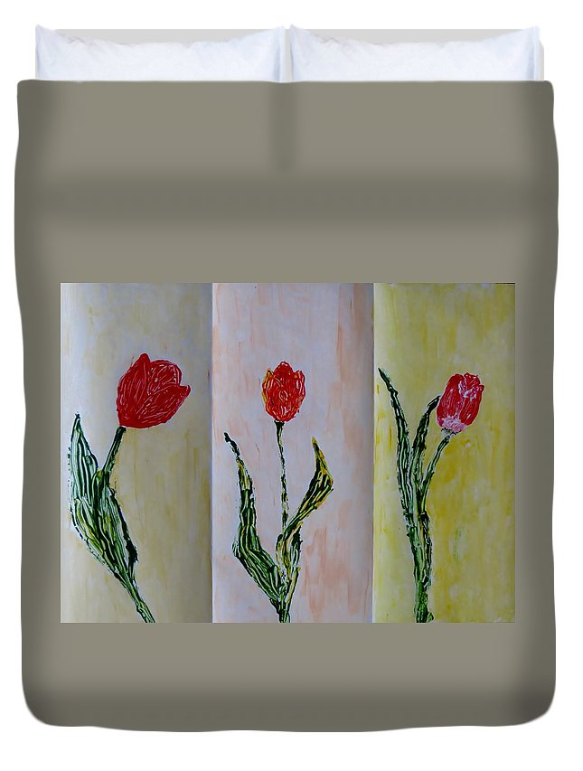 Red Duvet Cover featuring the painting Trio Of Red Tulips by Sonali Gangane