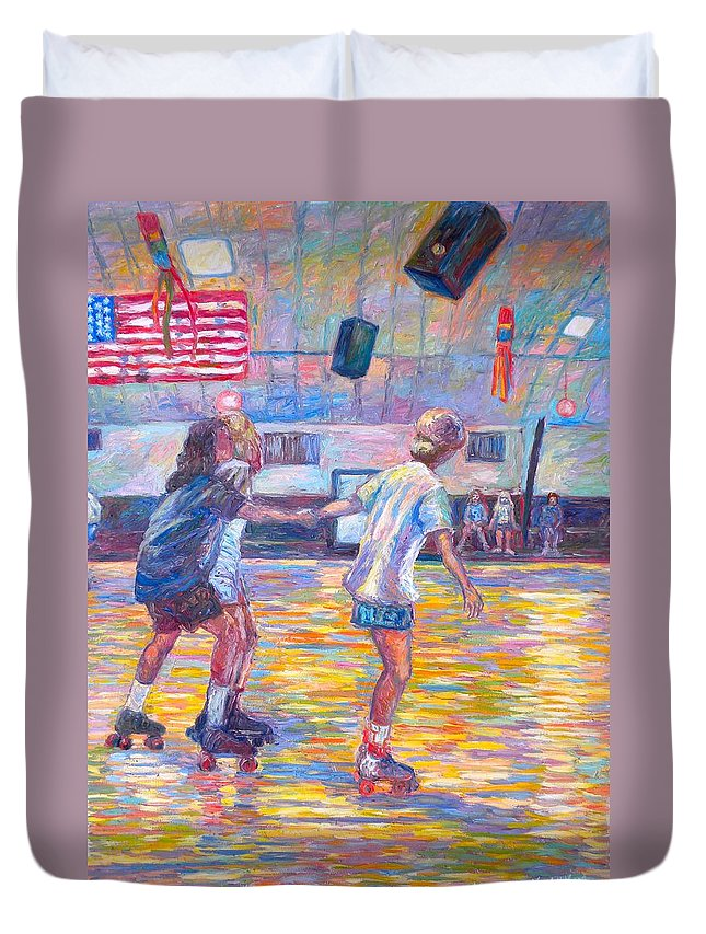 Figure Duvet Cover featuring the painting Trios At Dominion Skating Rink by Kendall Kessler