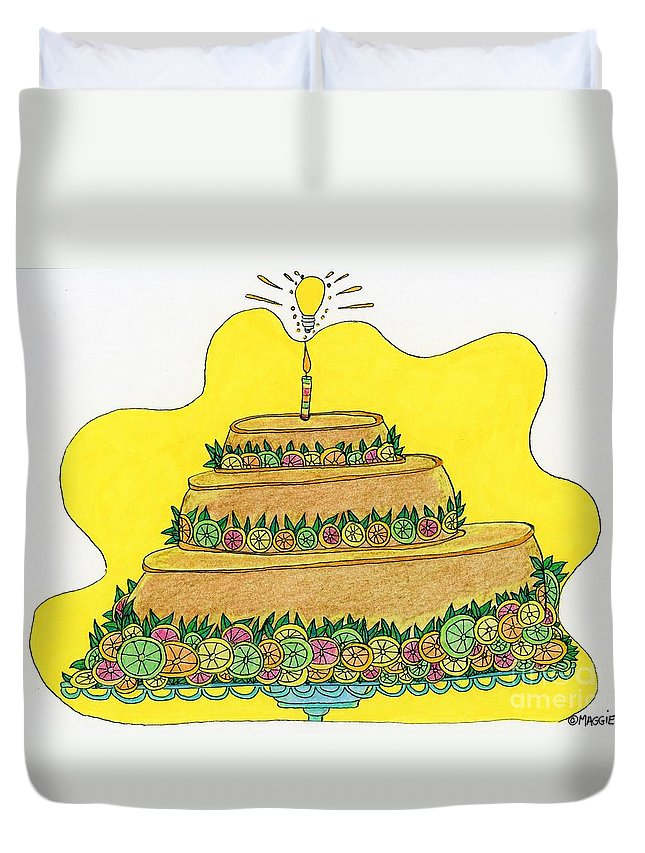 Flan Duvet Cover featuring the painting Triple-decker Flan by Maggie Pringle