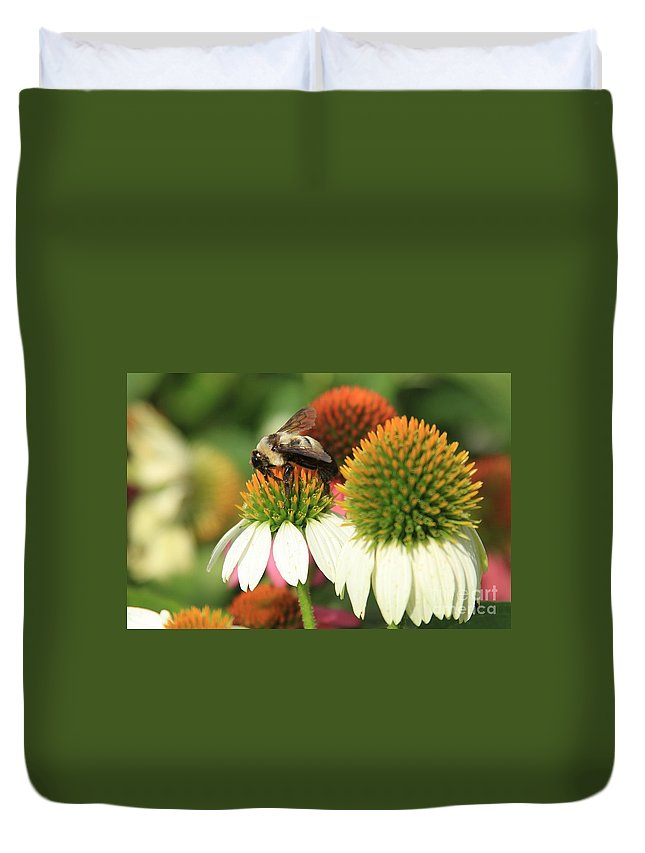Flowers Duvet Cover featuring the photograph Triple Duty by Reid Callaway
