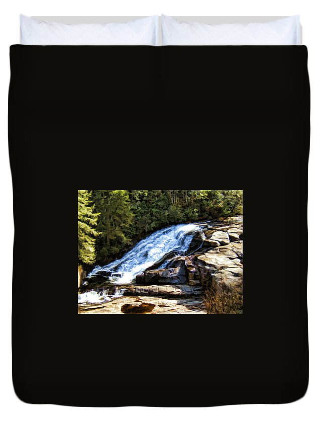 Triple Falls Duvet Cover featuring the painting Triple Falls II by Steven Richardson