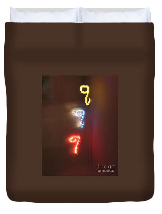 Dancing Lights Series Duvet Cover featuring the photograph Triple Q. Dancing Lights Series by Ausra Huntington nee Paulauskaite