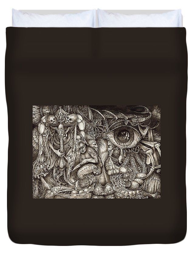 Surreal Duvet Cover featuring the drawing Tripping Through Bogomils Mind by Otto Rapp